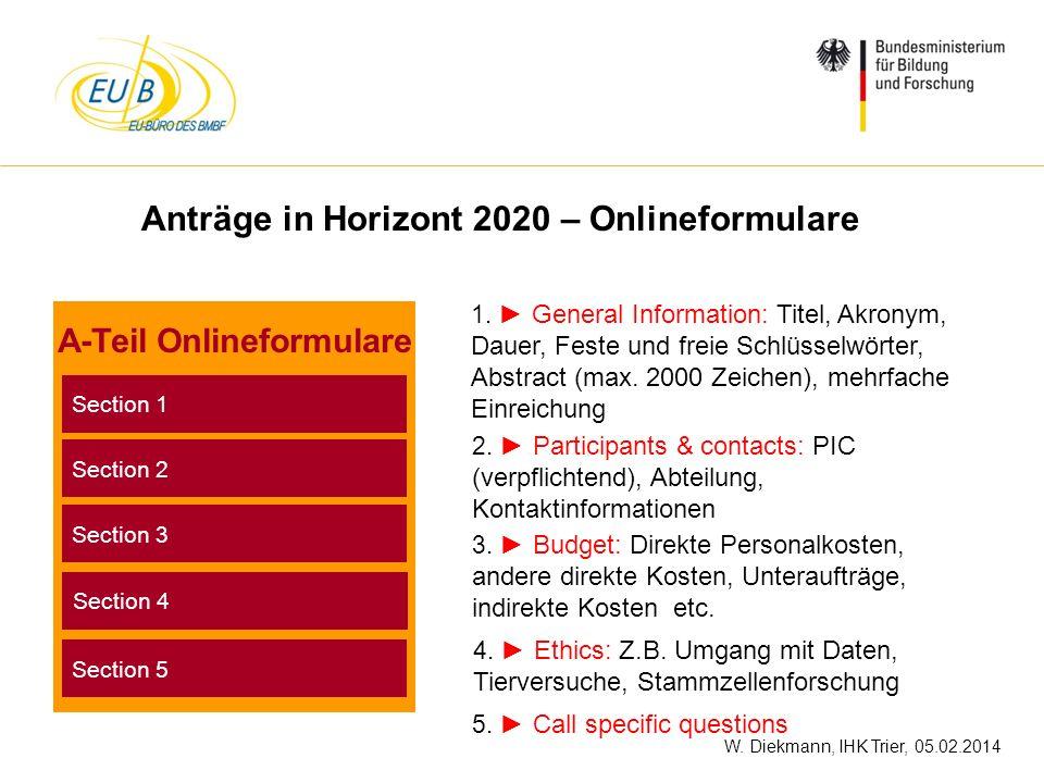 W. Diekmann, IHK Trier, 05.02.2014 Anträge in Horizont 2020 – Onlineformulare A-Teil Onlineformulare Section 2 Section 1 Section 3 Section 4 Section 5