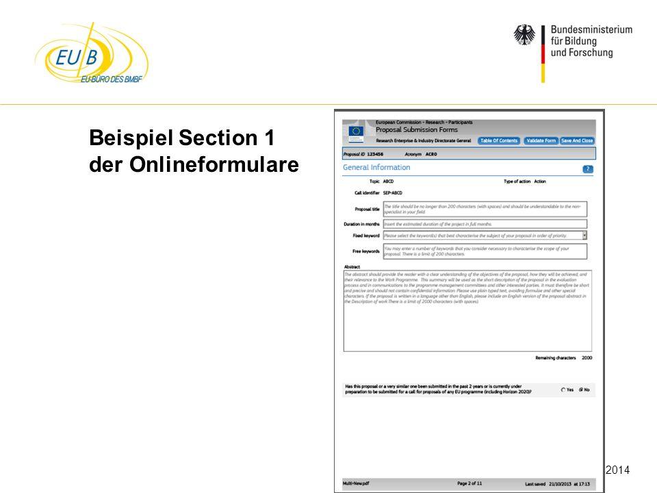 W. Diekmann, IHK Trier, 05.02.2014 Beispiel Section 1 der Onlineformulare