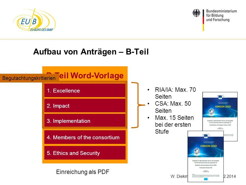 W. Diekmann, IHK Trier, 05.02.2014 Aufbau von Anträgen – B-Teil B-Teil Word-Vorlage 3. Implementation 2. Impact 1. Excellence Einreichung als PDF 4. M