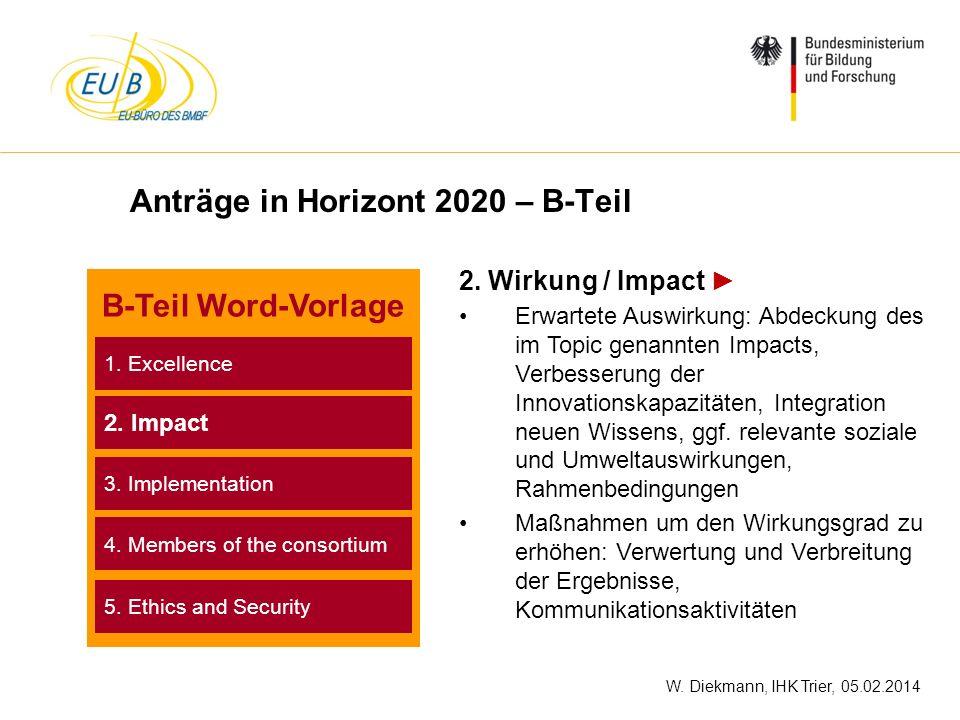 W. Diekmann, IHK Trier, 05.02.2014 Anträge in Horizont 2020 – B-Teil 2. Wirkung / Impact Erwartete Auswirkung: Abdeckung des im Topic genannten Impact