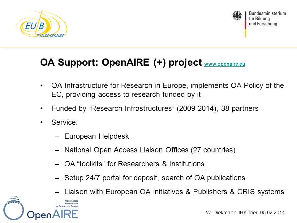 W. Diekmann, IHK Trier, 05.02.2014 OA Support: OpenAIRE (+) project www.openaire.eu www.openaire.eu OA Infrastructure for Research in Europe, implemen