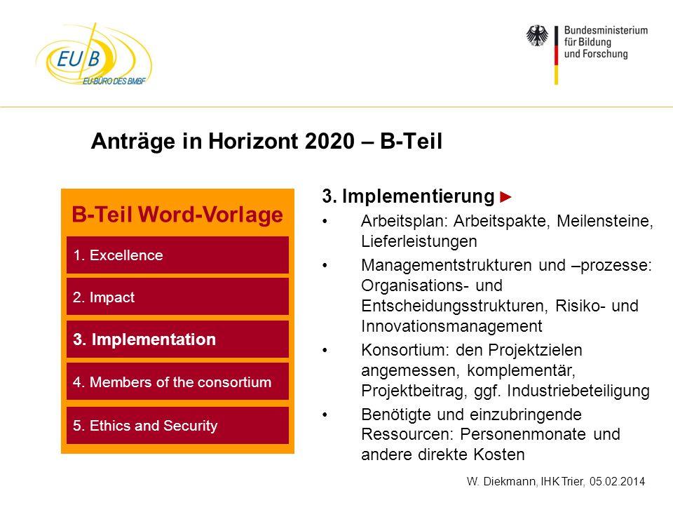 W. Diekmann, IHK Trier, 05.02.2014 Anträge in Horizont 2020 – B-Teil 3. Implementierung Arbeitsplan: Arbeitspakte, Meilensteine, Lieferleistungen Mana