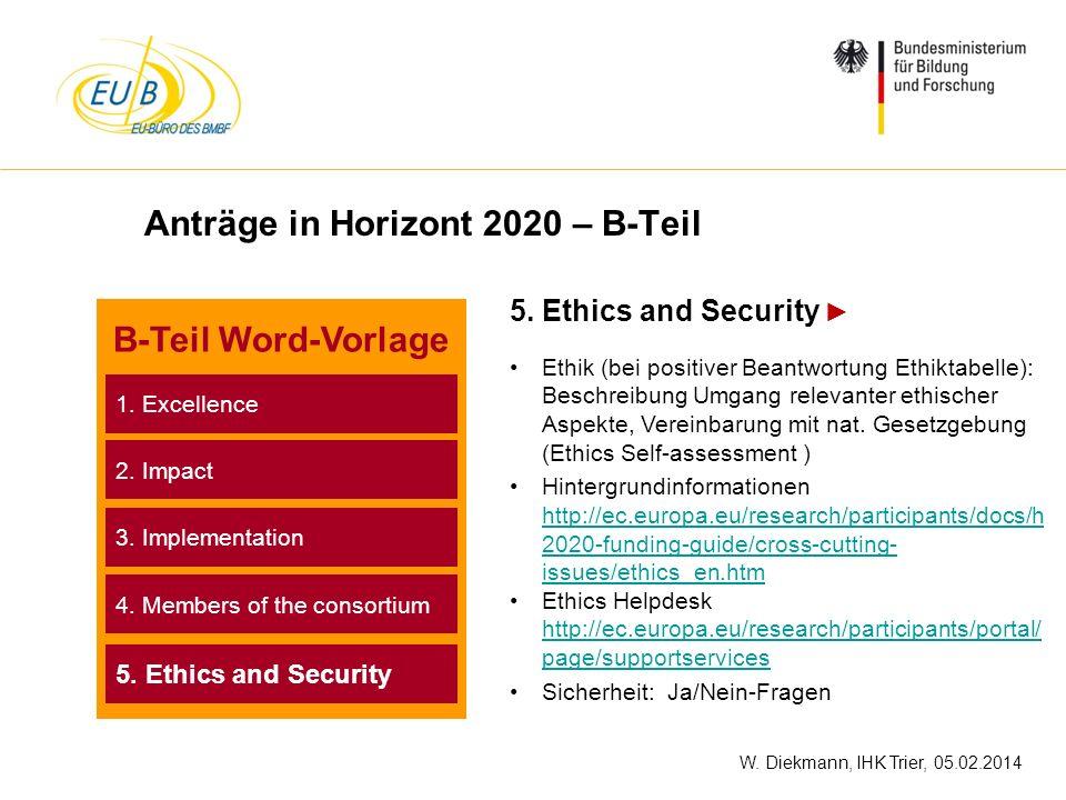 W. Diekmann, IHK Trier, 05.02.2014 Anträge in Horizont 2020 – B-Teil 5. Ethics and Security Ethik (bei positiver Beantwortung Ethiktabelle): Beschreib