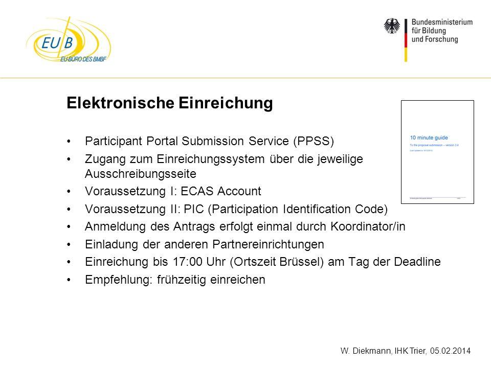 W. Diekmann, IHK Trier, 05.02.2014 Elektronische Einreichung Participant Portal Submission Service (PPSS) Zugang zum Einreichungssystem über die jewei