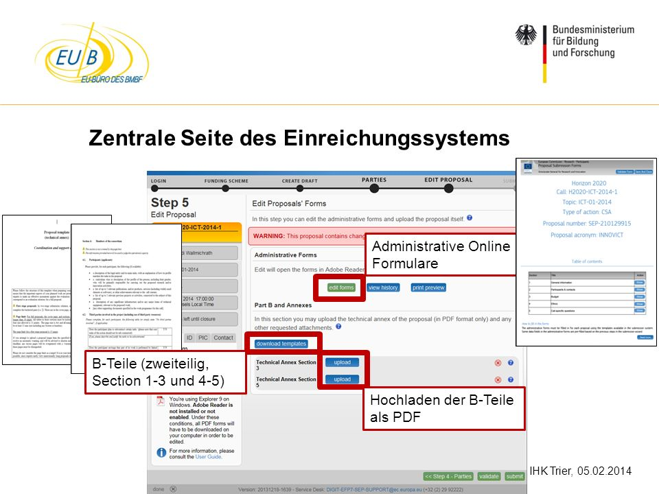 W. Diekmann, IHK Trier, 05.02.2014 Zentrale Seite des Einreichungssystems B-Teile (zweiteilig, Section 1-3 und 4-5) Hochladen der B-Teile als PDF Admi