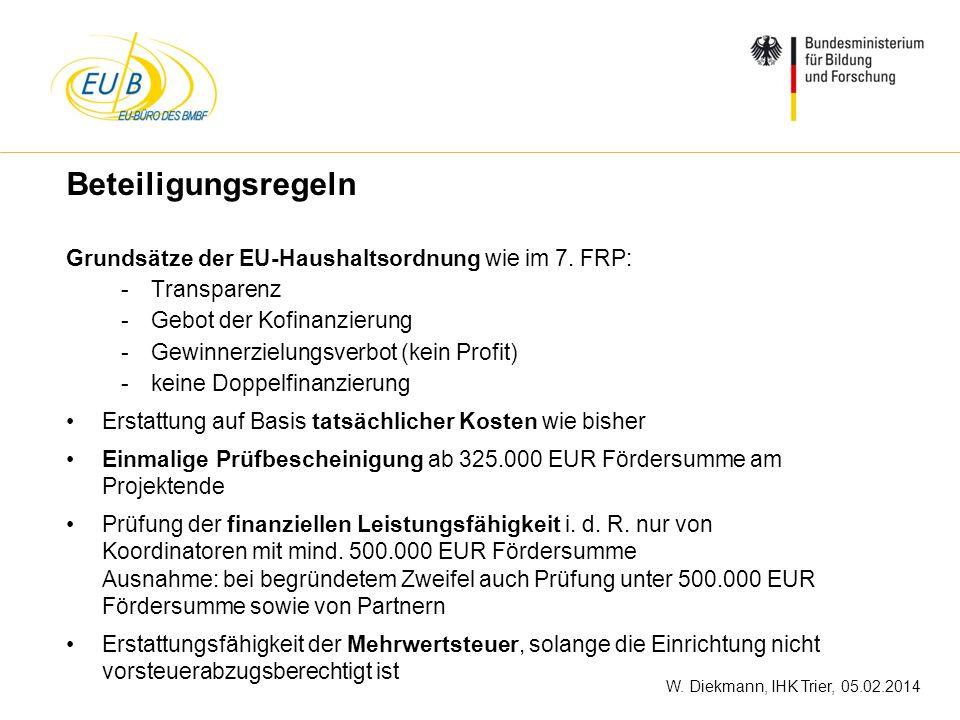 W. Diekmann, IHK Trier, 05.02.2014 Beteiligungsregeln Grundsätze der EU-Haushaltsordnung wie im 7. FRP: -Transparenz -Gebot der Kofinanzierung -Gewinn