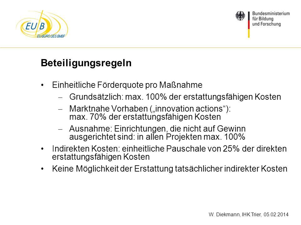 W. Diekmann, IHK Trier, 05.02.2014 Beteiligungsregeln Einheitliche Förderquote pro Maßnahme Grundsätzlich: max. 100% der erstattungsfähigen Kosten Mar