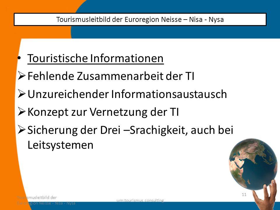 Touristische Informationen Fehlende Zusammenarbeit der TI Unzureichender Informationsaustausch Konzept zur Vernetzung der TI Sicherung der Drei –Srach