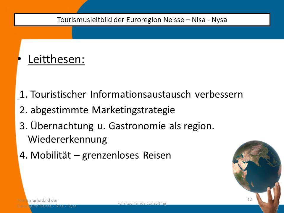 Leitthesen: 1. Touristischer Informationsaustausch verbessern 2. abgestimmte Marketingstrategie 3. Übernachtung u. Gastronomie als region. Wiedererken