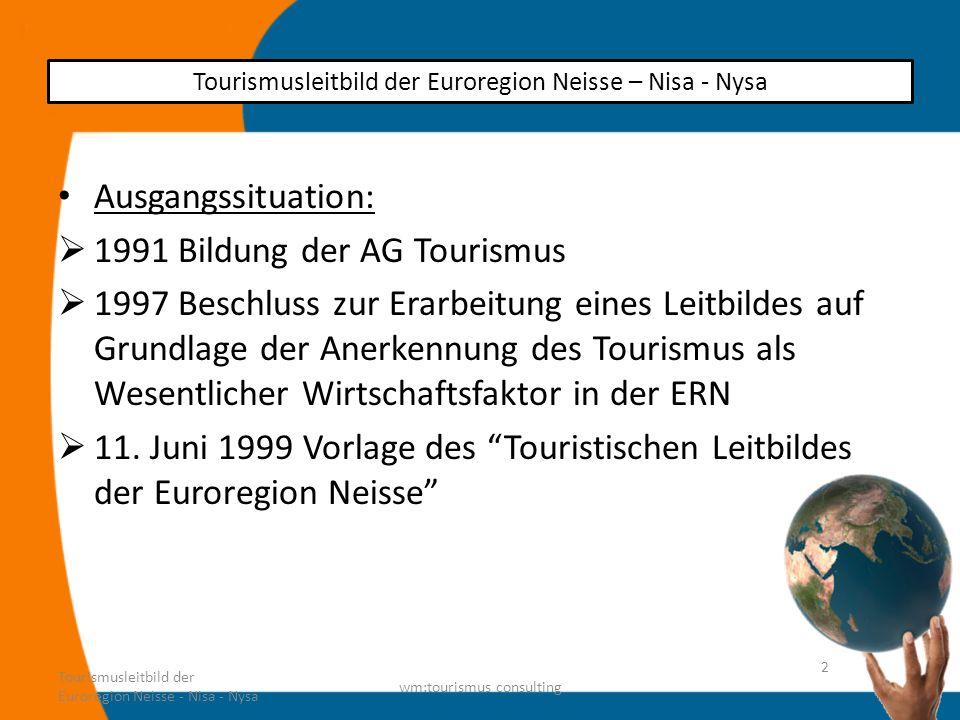 Ziel: Schaffung einer ganzheitlichen Ferienregion in der Euroregion Neisse Gemeinsame Tourismusentwicklung in der ERN Dreiseitige AG als Empfehlungsgremium für für eine koordinierte Weiterentwicklung Tourismusleitbild der Euroregion Neisse - Nisa - Nysa wm:tourismus consulting 3 Tourismusleitbild der Euroregion Neisse – Nisa - Nysa
