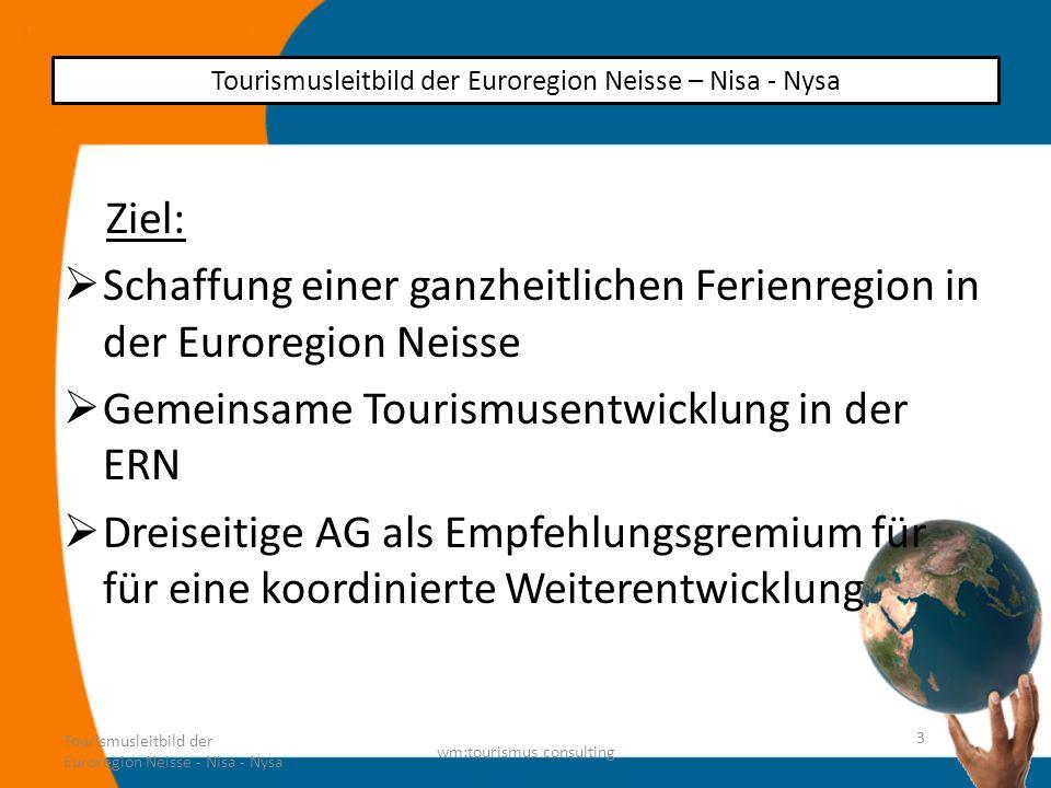 Angebotsentwicklung Natur und Landschaft – 3 Länder – 4Sprachen Angebote auch als Schlechtwettervariante Belebte Traditionen erlebbar machen Tourismusleitbild der Euroregion Neisse - Nisa - Nysa wm:tourismus consulting 14 Tourismusleitbild der Euroregion Neisse – Nisa - Nysa