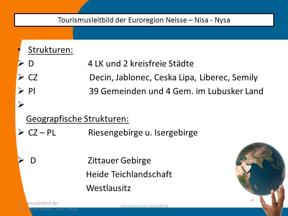 Strukturen: D 4 LK und 2 kreisfreie Städte CZ Decin, Jablonec, Ceska Lipa, Liberec, Semily Pl 39 Gemeinden und 4 Gem. im Lubusker Land Geograpfische S