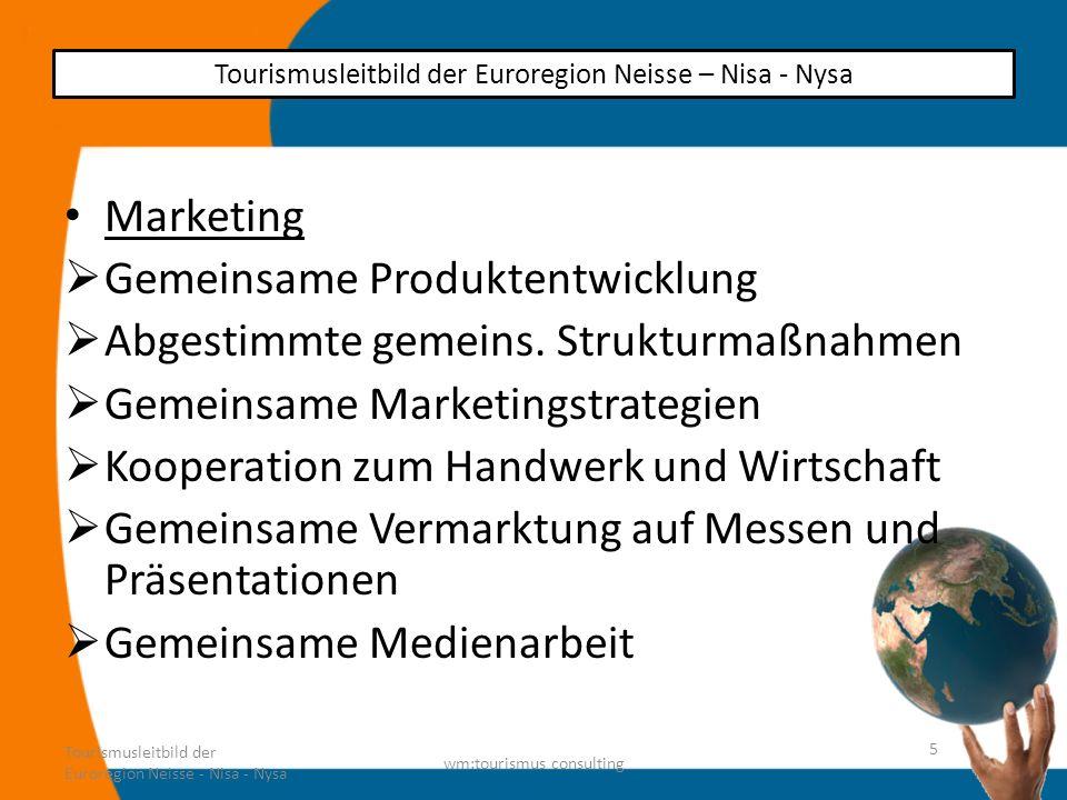 Marketing Gemeinsame Produktentwicklung Abgestimmte gemeins. Strukturmaßnahmen Gemeinsame Marketingstrategien Kooperation zum Handwerk und Wirtschaft