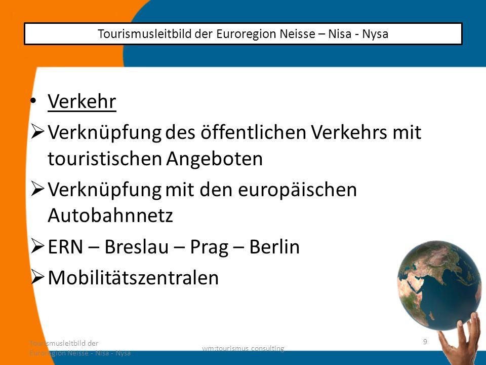 Verkehr Verknüpfung des öffentlichen Verkehrs mit touristischen Angeboten Verknüpfung mit den europäischen Autobahnnetz ERN – Breslau – Prag – Berlin