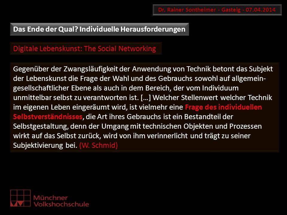Digitale Lebenskunst: The Social Networking Dr. Rainer Sontheimer - Gasteig - 07.04.2014 Gegenüber der Zwangsläufigkeit der Anwendung von Technik beto