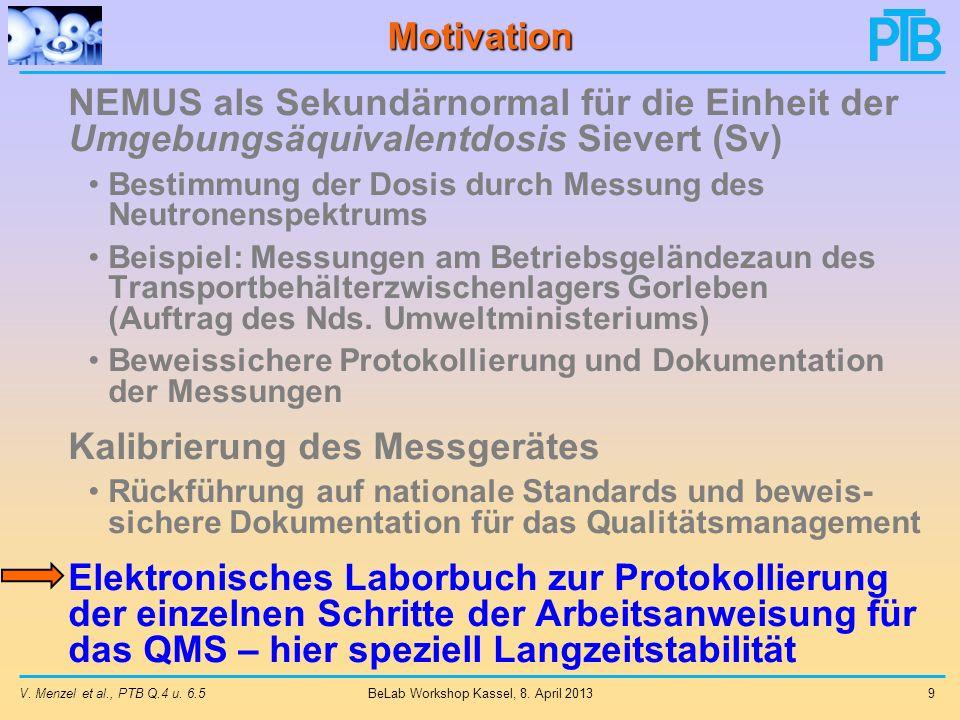 V.Menzel et al., PTB Q.4 u. 6.5 9 BeLab Workshop Kassel, 8.