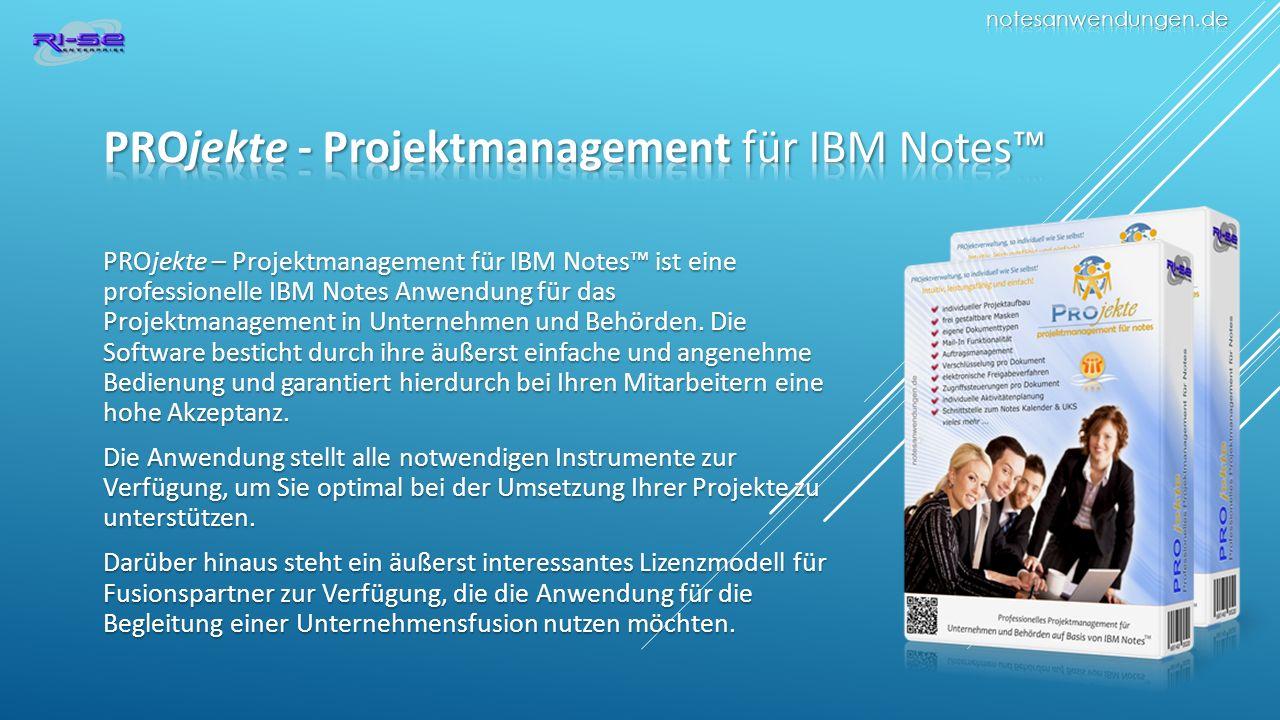 PROjekte – Projektmanagement für IBM Notes ist eine professionelle IBM Notes Anwendung für das Projektmanagement in Unternehmen und Behörden.