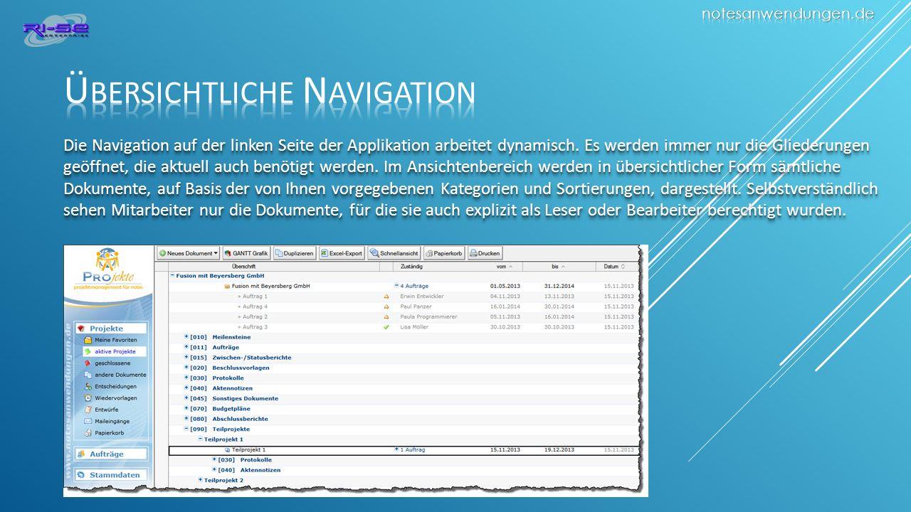Die Navigation auf der linken Seite der Applikation arbeitet dynamisch.