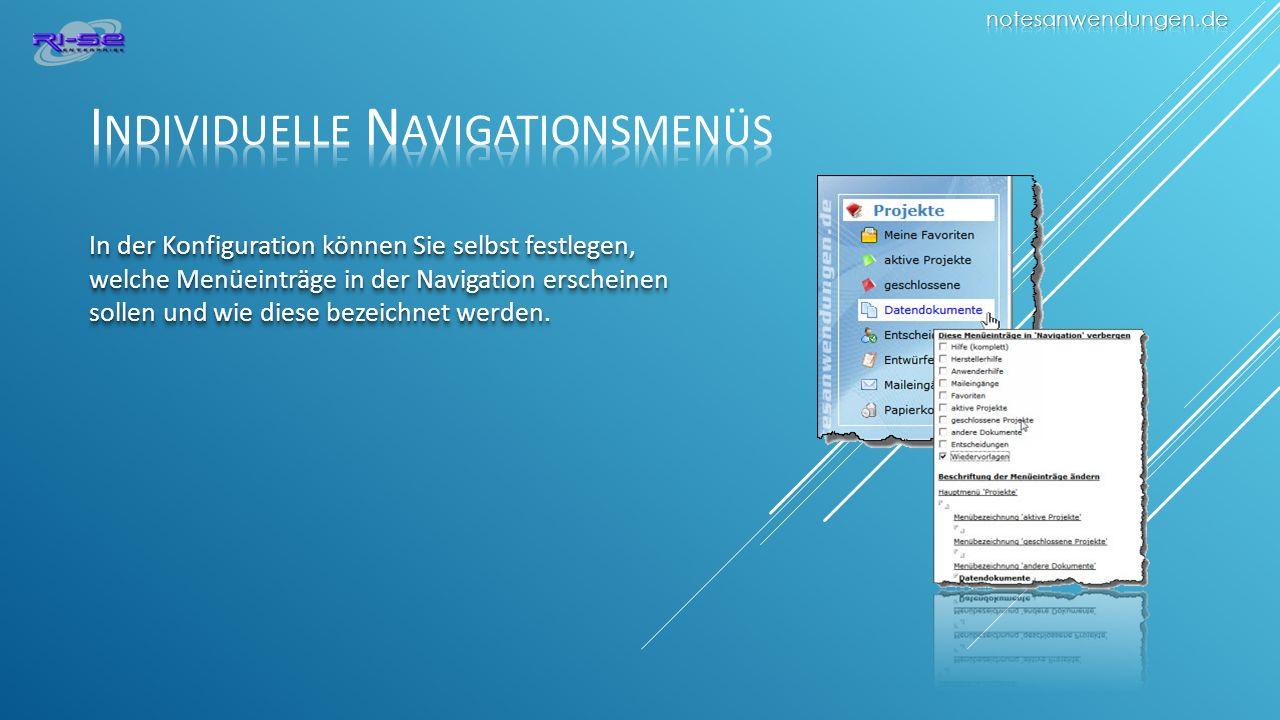 In der Konfiguration können Sie selbst festlegen, welche Menüeinträge in der Navigation erscheinen sollen und wie diese bezeichnet werden.