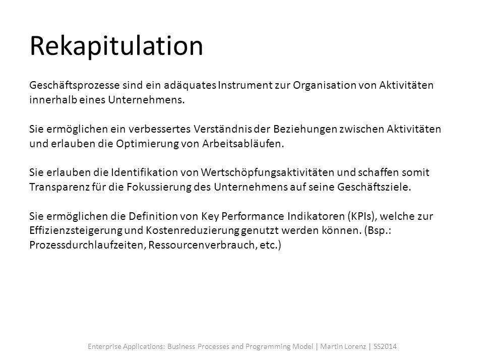 Rekapitulation Geschäftsprozesse sind ein adäquates Instrument zur Organisation von Aktivitäten innerhalb eines Unternehmens. Sie ermöglichen ein verb