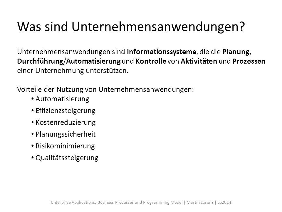 Was sind Unternehmensanwendungen? Unternehmensanwendungen sind Informationssysteme, die die Planung, Durchführung/Automatisierung und Kontrolle von Ak