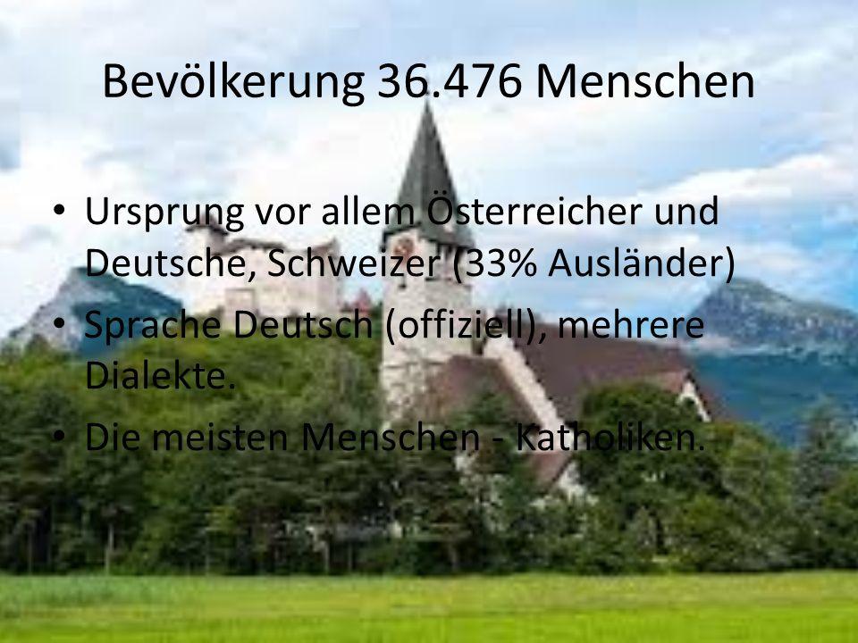 Bevölkerung 36.476 Menschen Ursprung vor allem Österreicher und Deutsche, Schweizer (33% Ausländer) Sprache Deutsch (offiziell), mehrere Dialekte.