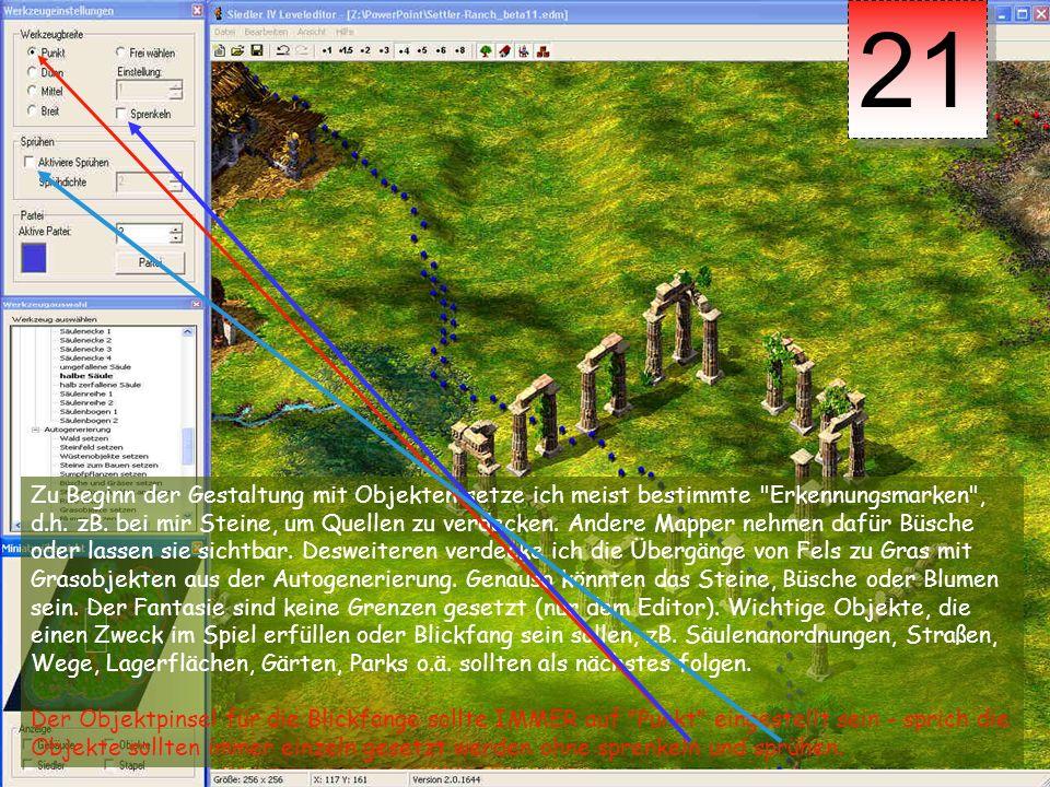 22 Um nun größere Flächen mit Objekten effektiv und trotzdem fantasievoll zu füllen, solltest du unter Bearbeiten --> Objektpinsel einstellen dieses auch tun.