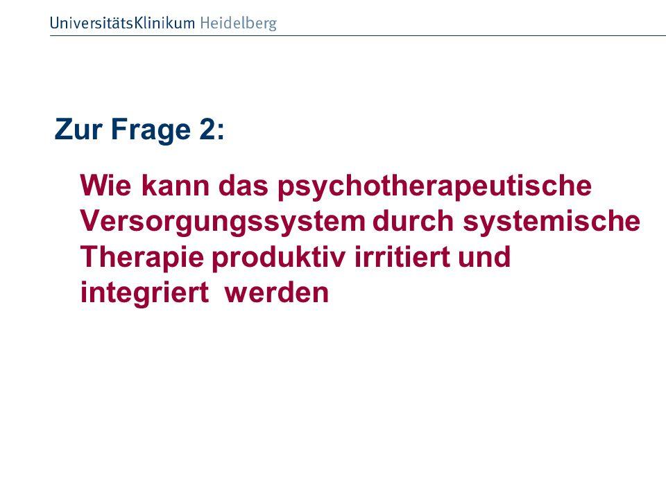 Zur Frage 2: Wie kann das psychotherapeutische Versorgungssystem durch systemische Therapie produktiv irritiert und integriert werden