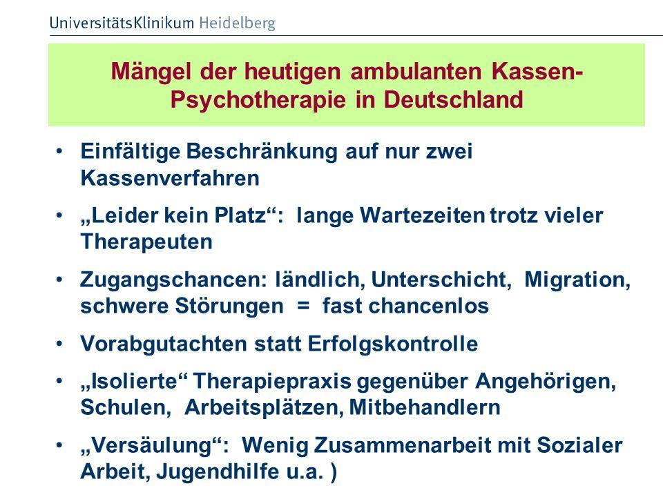 Mängel der heutigen ambulanten Kassen- Psychotherapie in Deutschland Einfältige Beschränkung auf nur zwei Kassenverfahren Leider kein Platz: lange War