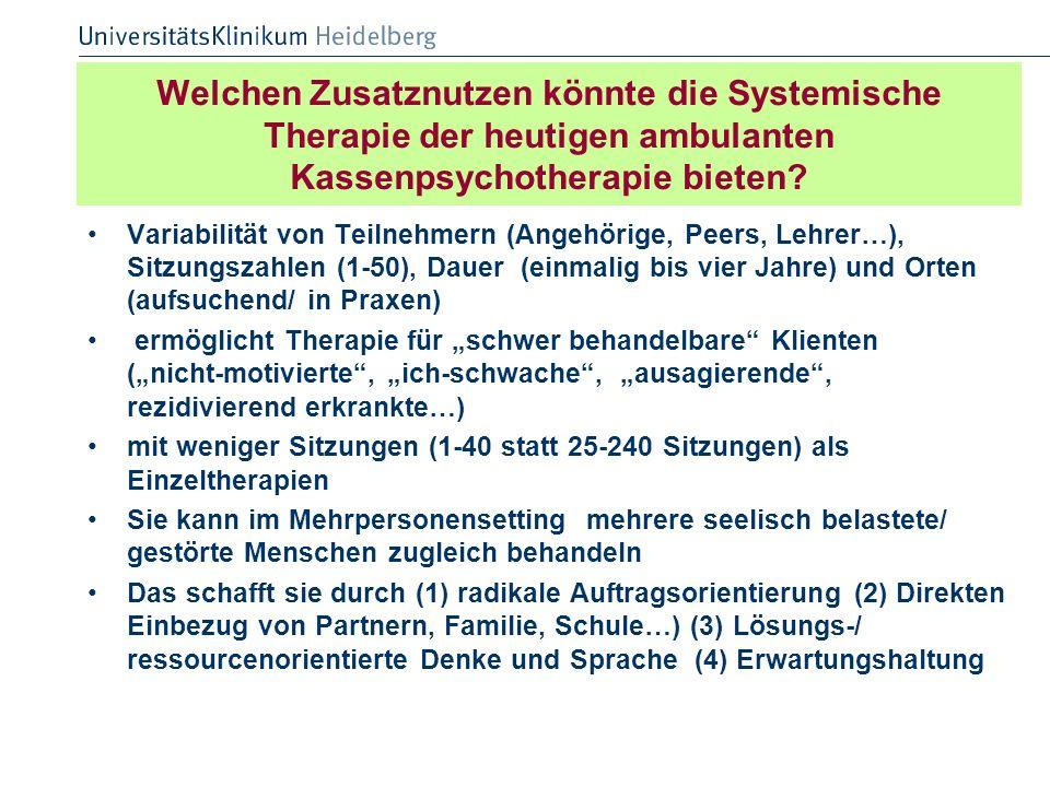 Welchen Zusatznutzen könnte die Systemische Therapie der heutigen ambulanten Kassenpsychotherapie bieten? Variabilität von Teilnehmern (Angehörige, Pe