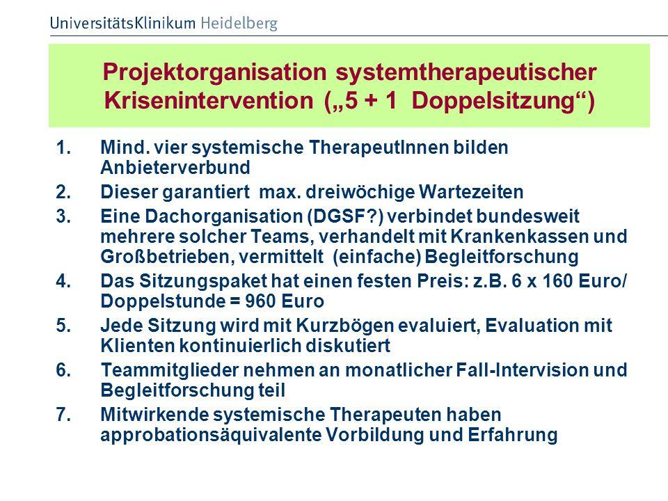Projektorganisation systemtherapeutischer Krisenintervention (5 + 1 Doppelsitzung) 1.Mind. vier systemische TherapeutInnen bilden Anbieterverbund 2.Di