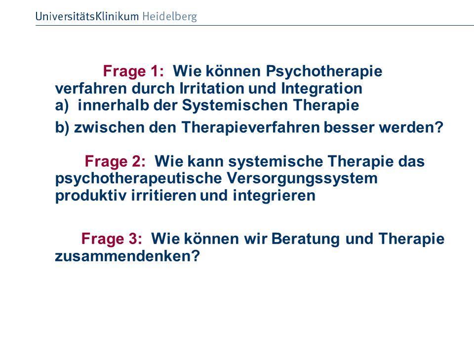 Frage 1: Wie können Psychotherapie verfahren durch Irritation und Integration a) innerhalb der Systemischen Therapie b) zwischen den Therapieverfahren