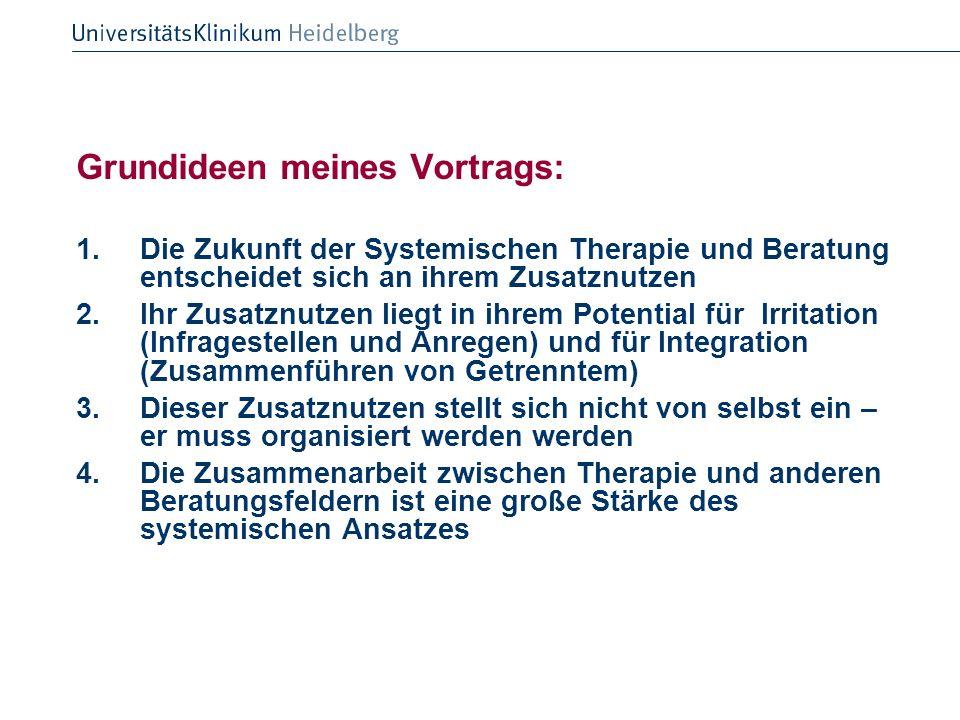 Grundideen meines Vortrags: 1.Die Zukunft der Systemischen Therapie und Beratung entscheidet sich an ihrem Zusatznutzen 2.Ihr Zusatznutzen liegt in ih