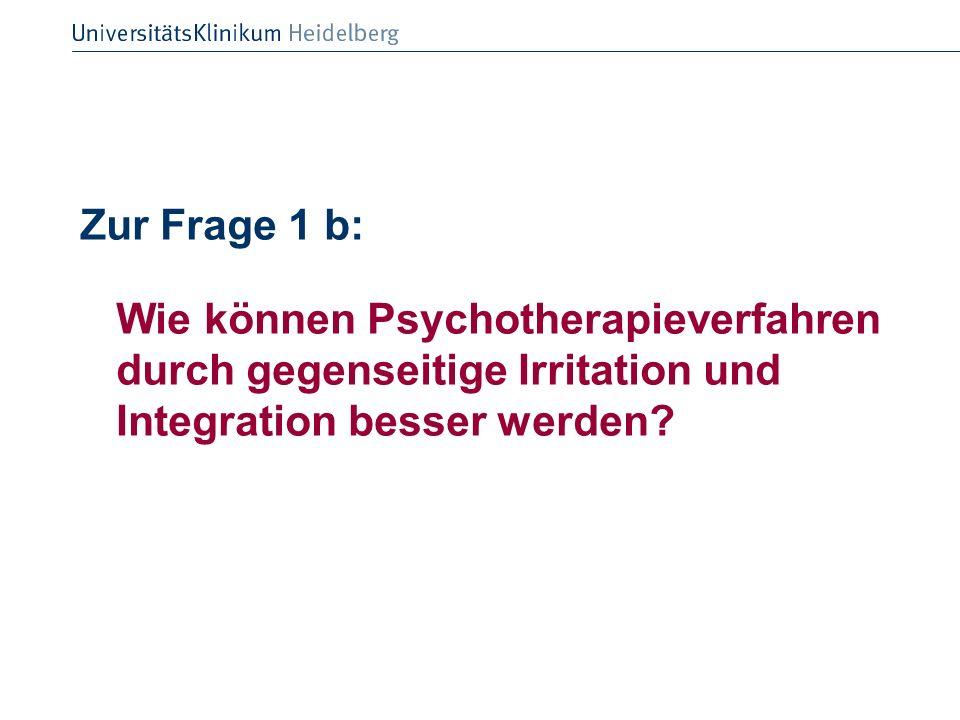 Zur Frage 1 b: Wie können Psychotherapieverfahren durch gegenseitige Irritation und Integration besser werden?