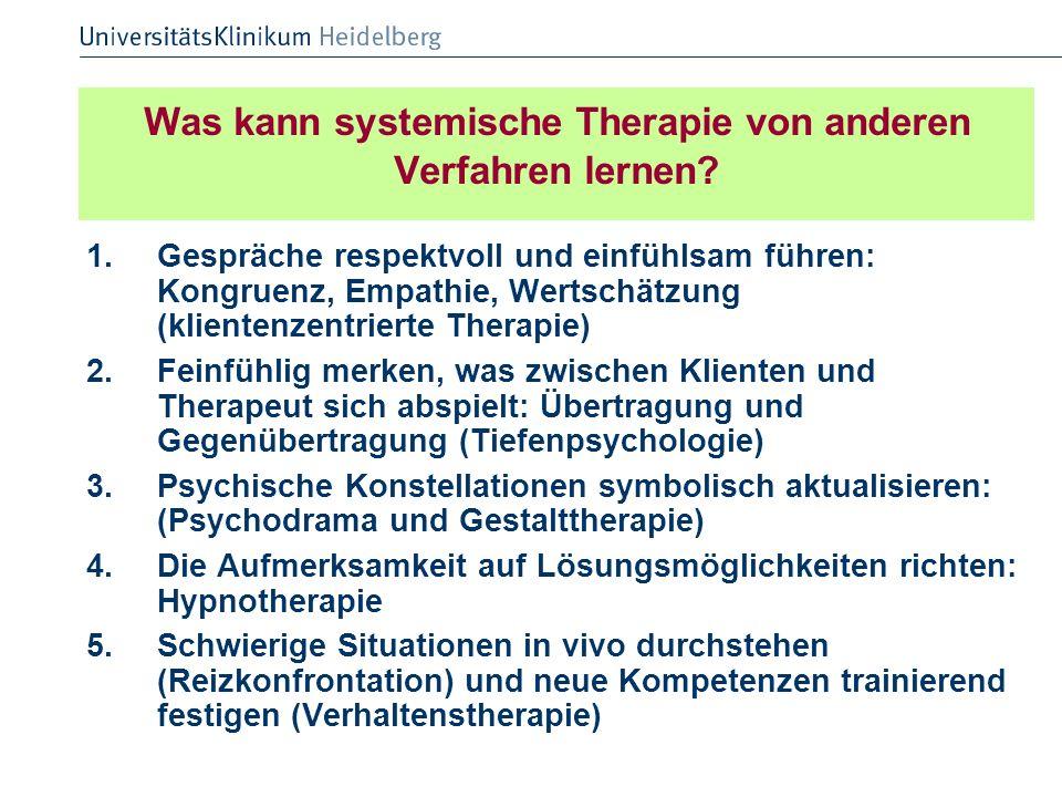 Was kann systemische Therapie von anderen Verfahren lernen? 1.Gespräche respektvoll und einfühlsam führen: Kongruenz, Empathie, Wertschätzung (kliente