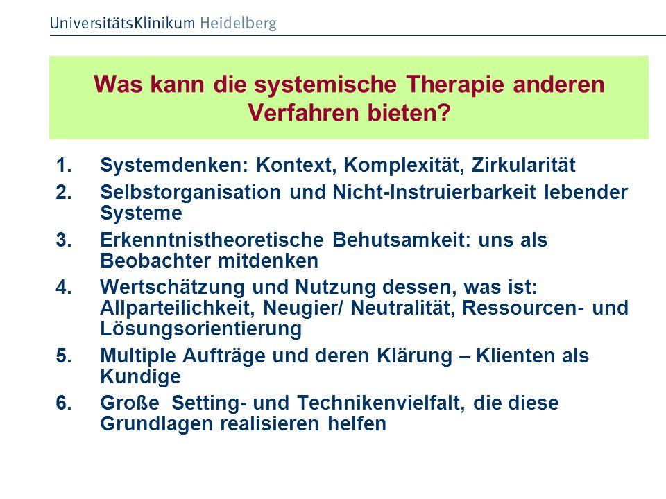 Was kann die systemische Therapie anderen Verfahren bieten? 1.Systemdenken: Kontext, Komplexität, Zirkularität 2.Selbstorganisation und Nicht-Instruie