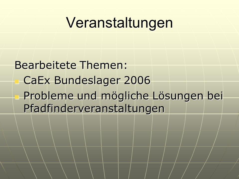 Veranstaltungen Bearbeitete Themen: CaEx Bundeslager 2006 Probleme und mögliche Lösungen bei Pfadfinderveranstaltungen