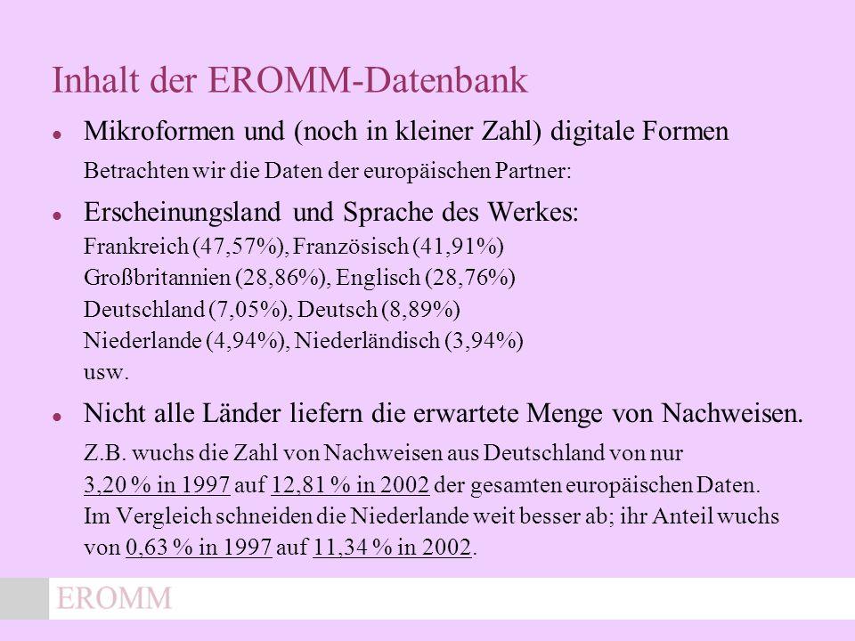 x Inhalt der EROMM-Datenbank Mikroformen und (noch in kleiner Zahl) digitale Formen Betrachten wir die Daten der europäischen Partner: Erscheinungsland und Sprache des Werkes: Frankreich (47,57%), Französisch (41,91%) Großbritannien (28,86%), Englisch (28,76%) Deutschland (7,05%), Deutsch (8,89%) Niederlande (4,94%), Niederländisch (3,94%) usw.