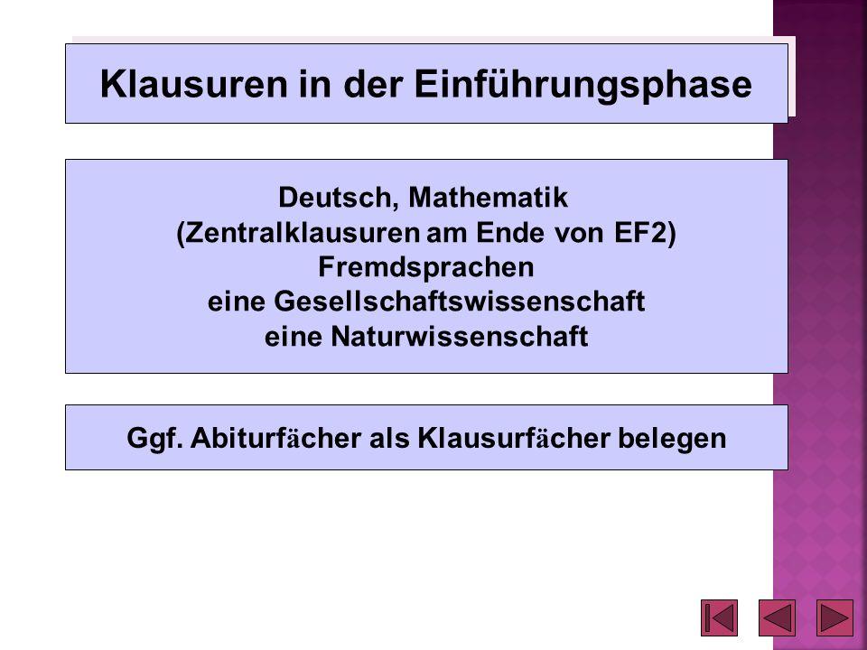 Klausuren in der Einführungsphase Deutsch, Mathematik (Zentralklausuren am Ende von EF2) Fremdsprachen eine Gesellschaftswissenschaft eine Naturwissen