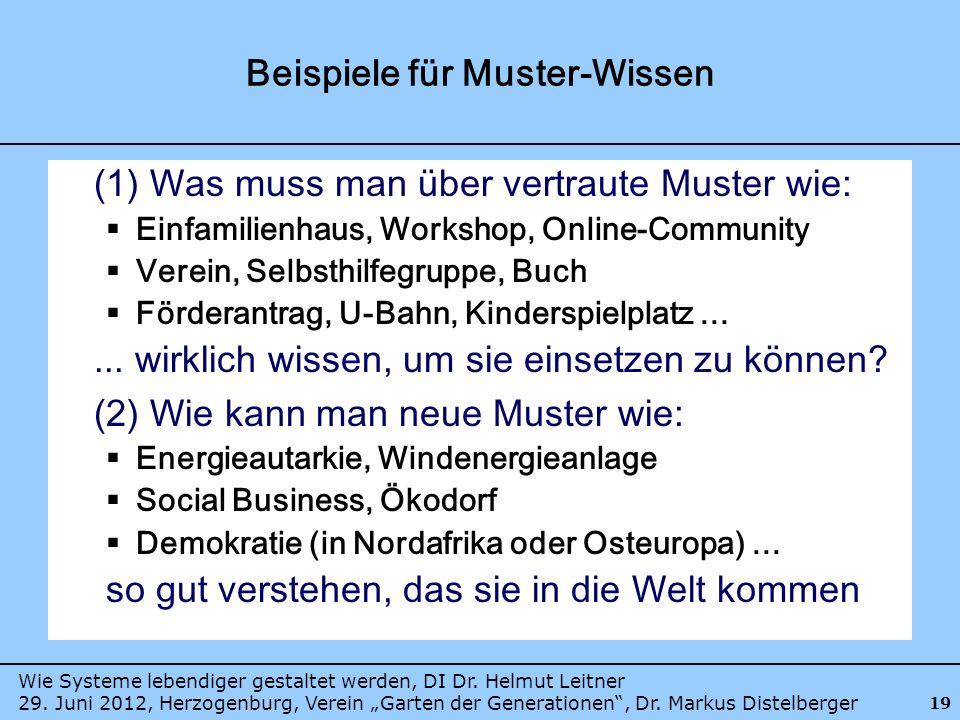 Wie Systeme lebendiger gestaltet werden, DI Dr. Helmut Leitner 29. Juni 2012, Herzogenburg, Verein Garten der Generationen, Dr. Markus Distelberger 19