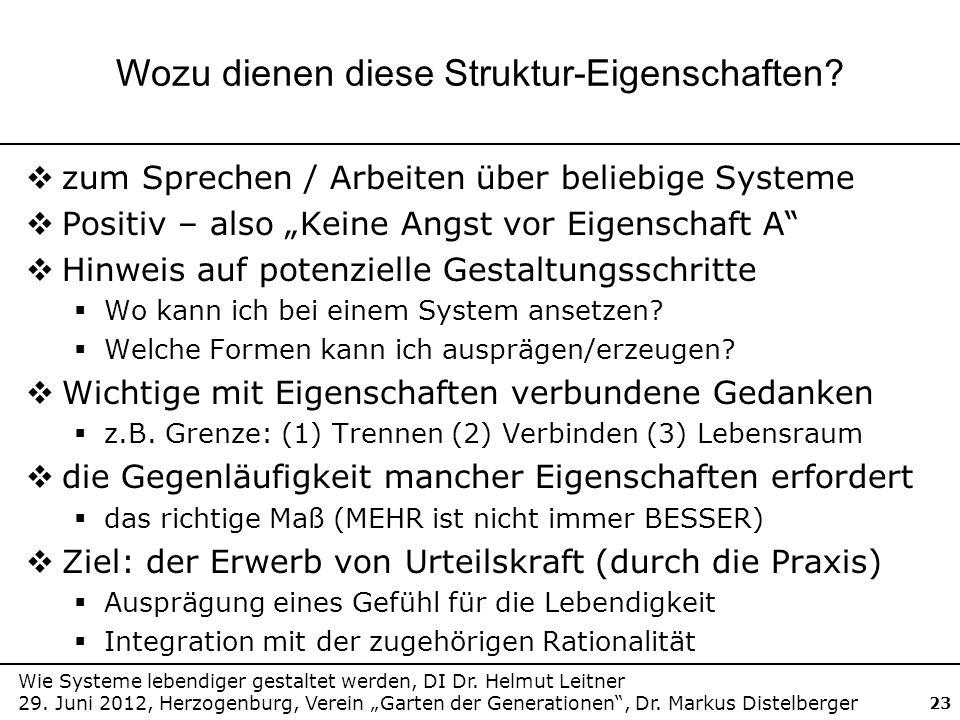 Wie Systeme lebendiger gestaltet werden, DI Dr. Helmut Leitner 29. Juni 2012, Herzogenburg, Verein Garten der Generationen, Dr. Markus Distelberger 23