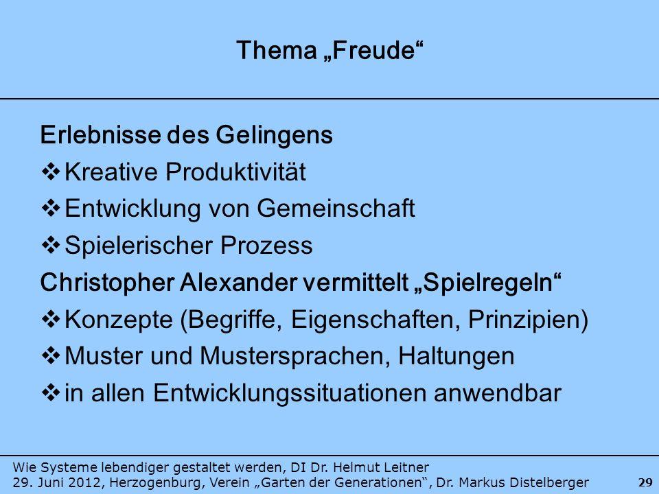 Wie Systeme lebendiger gestaltet werden, DI Dr. Helmut Leitner 29. Juni 2012, Herzogenburg, Verein Garten der Generationen, Dr. Markus Distelberger 29