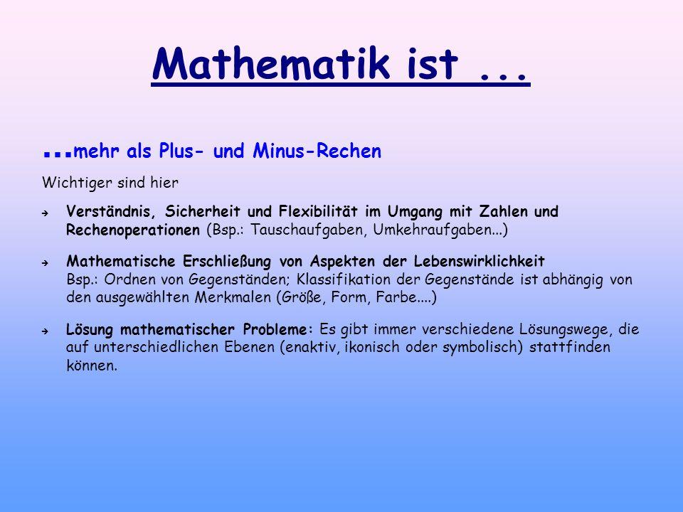 Mathematik ist...... mehr als Plus- und Minus-Rechen Wichtiger sind hier Verständnis, Sicherheit und Flexibilität im Umgang mit Zahlen und Rechenopera