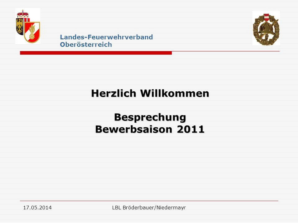 17.05.2014LBL Bröderbauer/Niedermayr Landes-Feuerwehrverband Oberösterreich Herzlich Willkommen Besprechung Bewerbsaison 2011