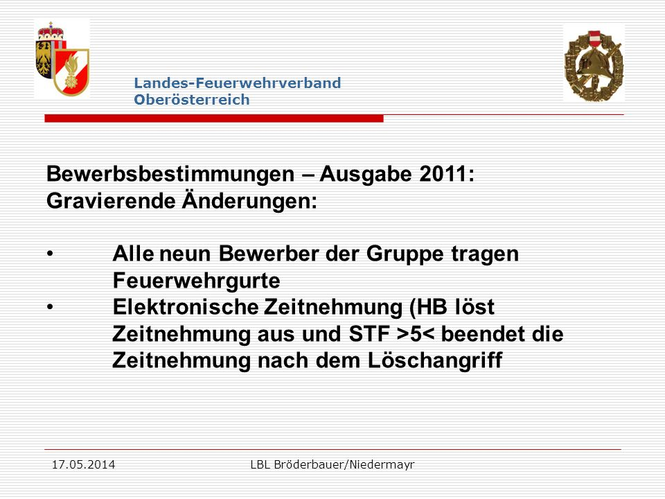 17.05.2014LBL Bröderbauer/Niedermayr Landes-Feuerwehrverband Oberösterreich Bewerbsbestimmungen – Ausgabe 2011: Gravierende Änderungen: Alle neun Bewe