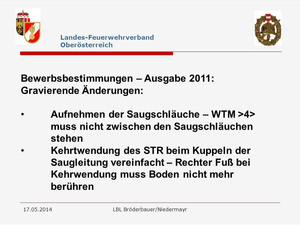 17.05.2014LBL Bröderbauer/Niedermayr Landes-Feuerwehrverband Oberösterreich Bewerbsbestimmungen – Ausgabe 2011: Gravierende Änderungen: Aufnehmen der