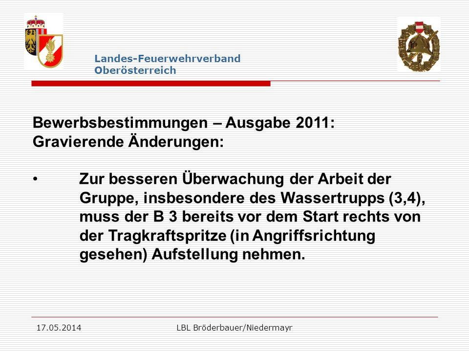 17.05.2014LBL Bröderbauer/Niedermayr Landes-Feuerwehrverband Oberösterreich Bewerbsbestimmungen – Ausgabe 2011: Gravierende Änderungen: Zur besseren Ü