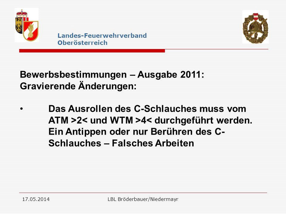 17.05.2014LBL Bröderbauer/Niedermayr Landes-Feuerwehrverband Oberösterreich Bewerbsbestimmungen – Ausgabe 2011: Gravierende Änderungen: Das Ausrollen