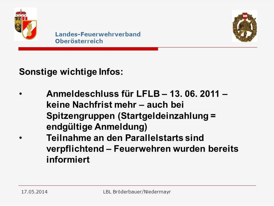 17.05.2014LBL Bröderbauer/Niedermayr Landes-Feuerwehrverband Oberösterreich Sonstige wichtige Infos: Anmeldeschluss für LFLB – 13. 06. 2011 – keine Na