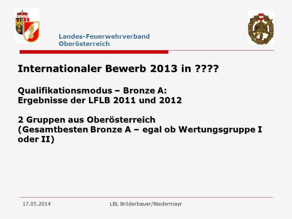 17.05.2014LBL Bröderbauer/Niedermayr Landes-Feuerwehrverband Oberösterreich Internationaler Bewerb 2013 in ???? Qualifikationsmodus – Bronze A: Ergebn